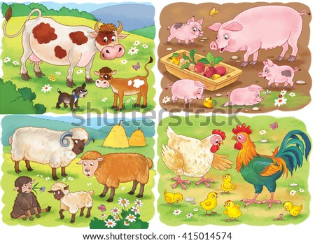 small set of cute farm animals with their babies cow - Cartoon Picture Of Children
