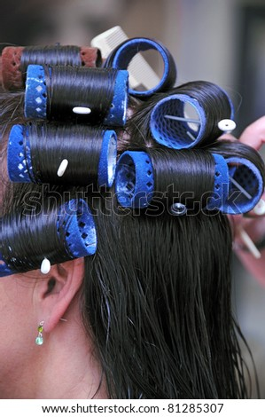 at the hairdresser - stock photo