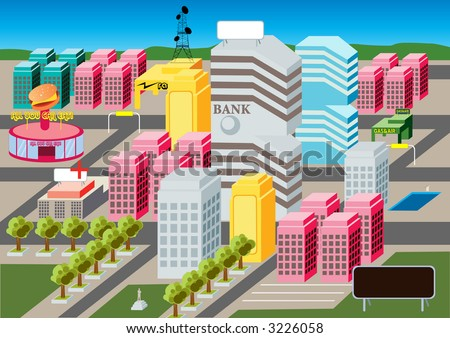 At the heart of MicroCity lays the busy urban city life. - stock photo