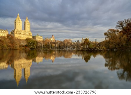 At the Lake in Central Park in autumn - stock photo