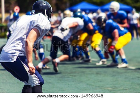 at the start of the battle of American football, the match is - stock photo