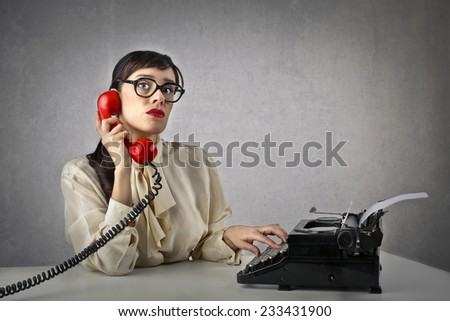 At the telephone  - stock photo