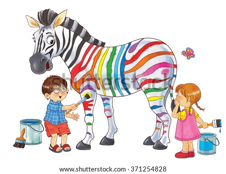 At the zoo. African animals. Cute boy and girl are painting zebra's strips in different colors. Illustration for children. Coloring book. Coloring pages. Cartoon characters. Isolated on white. - stock photo