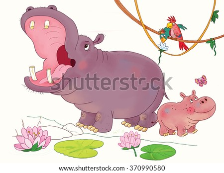 Mother And Child Hippo Stock Images Royalty Free Images