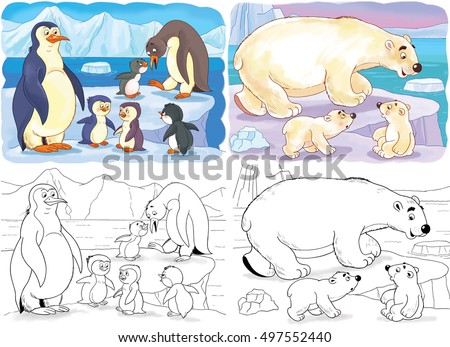 arctic animals family of cute penguins and cute mother white bear - Baby Arctic Animals Coloring Pages