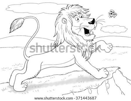 At the zoo. Funny African animals. A cute lion is playing with a butterfly. Illustration for children. Coloring book. Coloring pages. Cartoon characters.