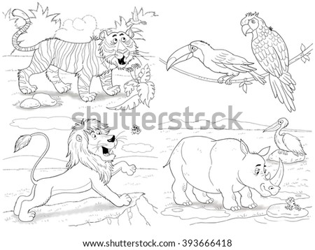 At the zoo. Small set of cute African animals. Tiger, lion, rhinoceros, toucan and parrot. Illustration for children. Coloring book. Coloring page. Cartoon characters.  - stock photo
