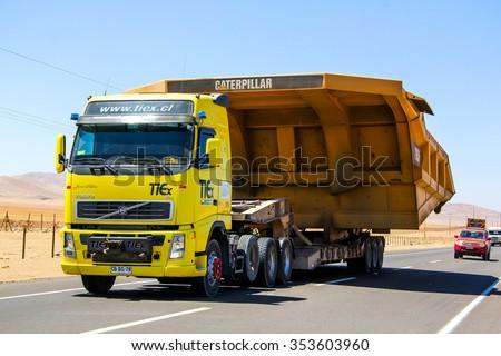ATACAMA, CHILE - NOVEMBER 18, 2015: Heavy trailer truck Volvo FH at the Pan-American Highway. - stock photo