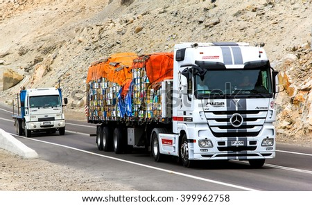 ATACAMA, CHILE - NOVEMBER 14, 2015: Semi-trailer truck Mercedes-Benz Actros at the interurban road. - stock photo