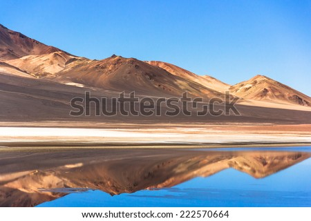 Atacama Water Mirror. The Atacama Desert is a plateau in South America, covering a 1,000-kilometre (600 mi) strip of land on the Pacific coast, west of the Andes mountains. - stock photo