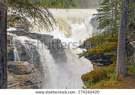 Athabasca Falls in Jasper National Park - stock photo