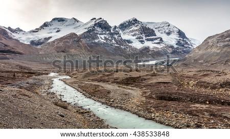 Athabasca glacier landscape in Jasper National Park, Alberta, Canada - stock photo