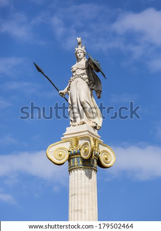 Athena statue from the Academy of Athens ,Greece - stock photo