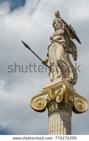 Athena statue in front of Academy of Athens, Greece