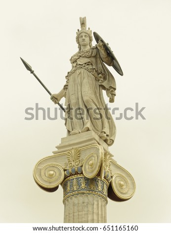 Athena statue, the ancient Greek goddess of wisdom and knowledge