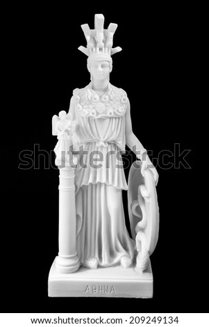 Athena the ancient Greek goddess of wisdom and science, isolated on black background