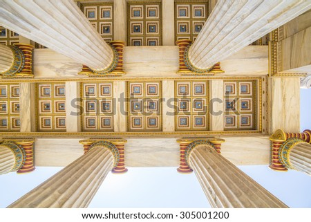 Athens academy columns - design - stock photo