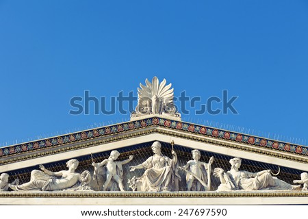 Athens Academy, detail of the sculptures at Athens Academy, Instagram look - stock photo