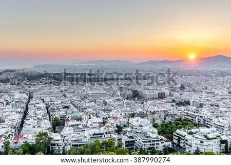 Athens at sunset, Greece - stock photo
