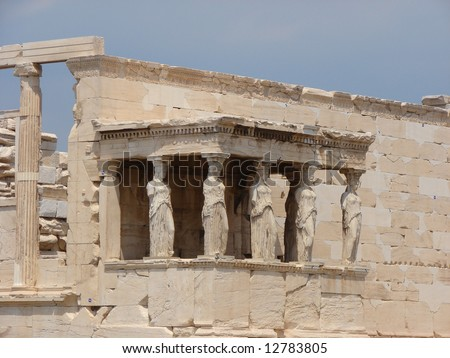 Athens Caryatids, ancient sculpted female figures.