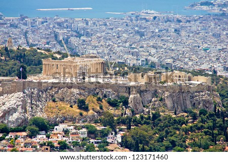 Athens cityscape and Acropolis hill, a view from Lycabettus hill - stock photo