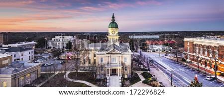 Athens, Georgia, USA downtown cityscape. - stock photo