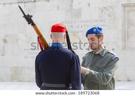 ATHENS, GREECE - APRIL 2, 2014: The Changing of the Guard ceremony takes place in front of the Greek Parliament Building