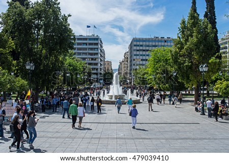 ATHENS, GREECE - APRIL 27, 2016:view of Syntagma square in Athens with crowd