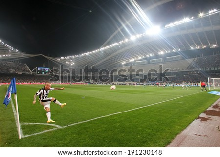 ATHENS, GREECE APRIL 26, 2014 : Wide view of the game and the stadium during the Greek Cup Final match Paok vs Panathinaikos