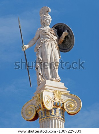 Athens Greece, Athena statue under blue sky background