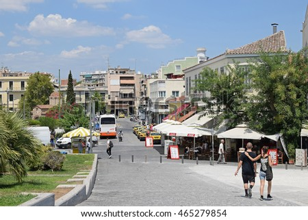ATHENS, GREECE - AUGUST 4, 2016: People on a hot summer day in the city of Athens, Greece.