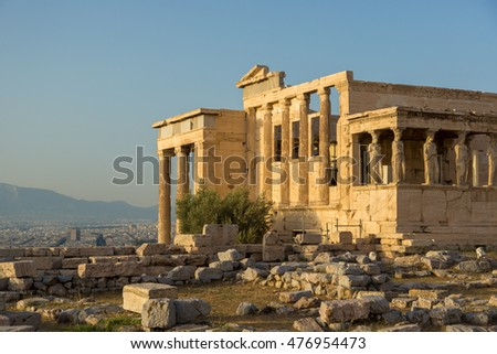 Athens, Greece - August 15th. 2014 - A sunset in the top of Acropolis in Athens, capital of Greece in Europe.