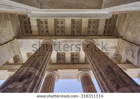 Athens Greece, ceiling of the national academy entrance - stock photo