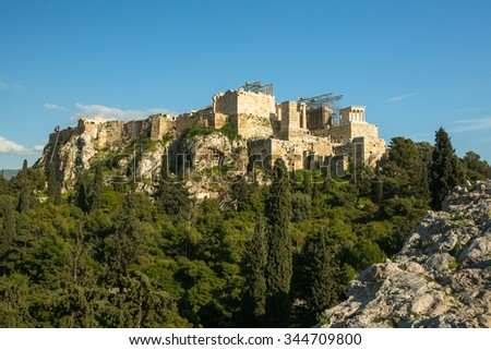 ATHENS, GREECE - CIRCA APR, 2015: View of old city Acropolis. Construction began in 447 BC in the Athenian Empire. It was completed in 438 BC. - stock photo
