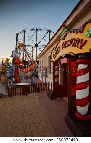 Athens, Greece - December 09, 2015: Christmas fair and market in the neighbourhood of Gazi in the old gasworks of Athens, Greece