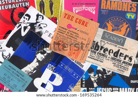 ATHENS, GREECE - DECEMBER 22, 2013: Vintage concert ticket stubs punk and alternative rock music memorabilia from the 80s and 90s. - stock photo