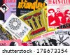 ATHENS, GREECE - FEBRUARY 24, 2014: Vintage live gig concert tickets punk and indie rock music memorabilia from the 1980s and 1990s. - stock photo