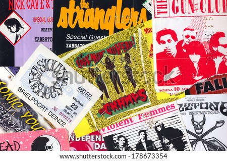 ATHENS, GREECE - FEBRUARY 24, 2014: Vintage live gig concert tickets punk and indie rock music memorabilia from the 1980s and 1990s.