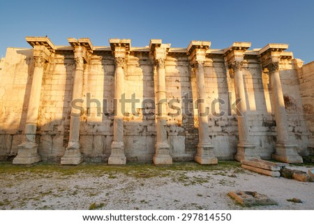 ATHENS, GREECE â?? JANUARY 13 2015:  Remains of the Hadrian's Library in Monastiraki square in Athens, Greece. - stock photo