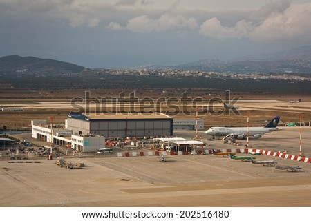 Athens, Greece - January 29 2012: View of the Athenian airport.