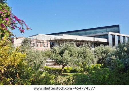 ATHENS, GREECE -15 JULY 2016- Open in 2009, the Acropolis Museum is an archeological museum housing the artifacts found near the Acropolis site.