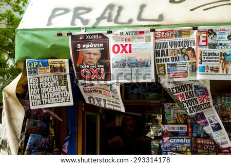 ATHENS, GREECE - JULY 4TH, 2015: Newspapers on July 4th, 2015, in Athens, Greece.  Headlines about the possible results of the referendum that will take place on July 5th, 2015, in Greece.