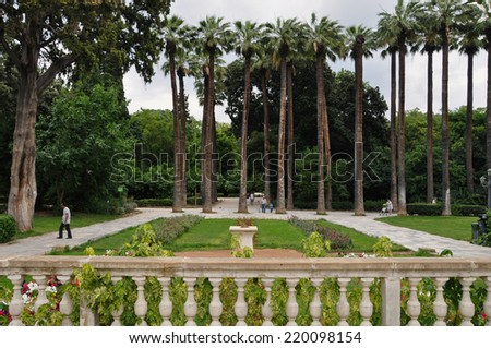 ATHENS, GREECE - JUNE 9, 2014: People walking on the National Garden public park in central Athens, Greece. - stock photo