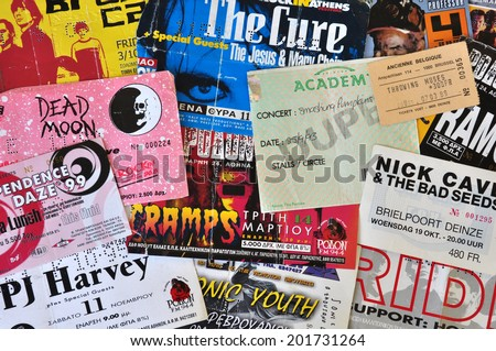 ATHENS, GREECE - JUNE 26, 2014: Vintage live concert ticket stubs alternative indie and punk rock music memorabilia from the 1980s and 1990s.
