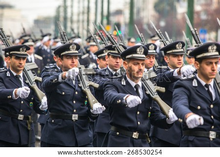 ATHENS, GREECE - MAR 25, 2015: Unidentified participants and military equipment during Military parade at national holiday - Day of National Revival Greece or Independence Day of Greece. - stock photo