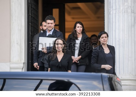 Athens, Greece - March 16, 2016: Hollywood star and UN refugee agency envoy Angelina Jolie leaves the Greek Prime minister's office in Athens following a meeting with Greek Prime minister - stock photo