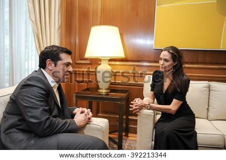 Athens, Greece - March 16, 2016: Special envoy of the United Nations High Commissioner for Refugees Angelina Jolie (R) during a meeting with Greek Prime Minister Alexis Tsipras - stock photo
