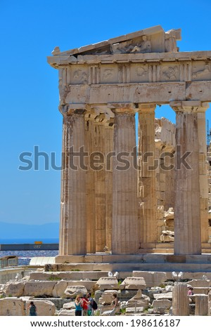 Athens, Greece - May 14: Greek ruins of Parthenon on the Acropolis in Athens, Greece on May 14 2014