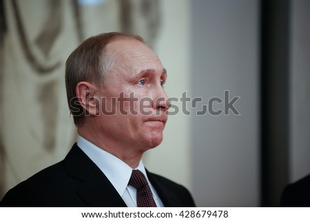 Athens, Greece - May 27, 2016: Russian President Vladimir Putin delivers a speech during his visit at the Byzantine and Christian museum in Athens