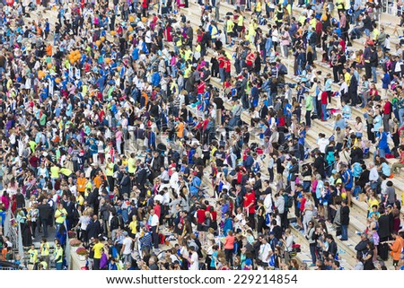 ATHENS,GREECE - NOV 9: 32nd Athens Classic Marathon.Over 35,000 athletes from dozens of countries took part in the classic marathon ,November 9, 2014 in Athens,Greece